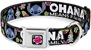 Buckle-Down Seatbelt Buckle Dog Collar - Ohana Means Family/Stitch & Scrump Poses/Tropical Flora Black/White/Multi Color