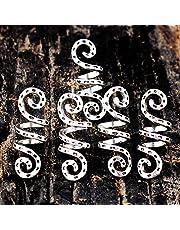 5 anillos de pelo de aleación trenzada con abalorios, accesorios de plata vintage, clips de tubo en espiral, rastas