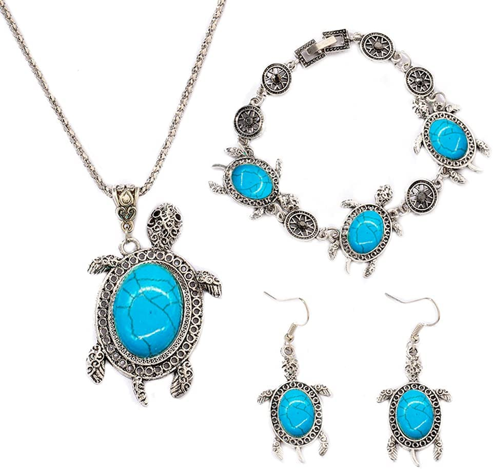 Sea Turtle Jewelry Turtle Necklace Bracelet Earrings Set for Women Teen Girls Sea Animal Earrings and Necklace Set Western Turquoise Jewelry Sets for Women