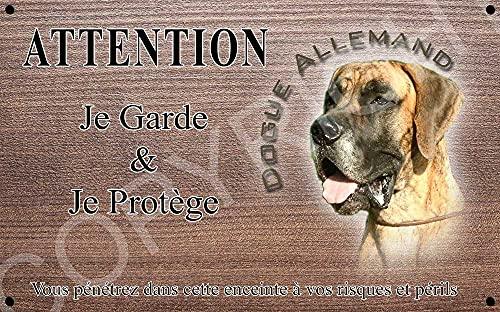 Pets-Easy.com Attention Chien de Garde personnalisée Dogue Allemand brungé - pré perforée et vis proposées. De 30 cm à 15 cm…
