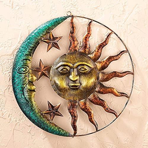 Syina Creativa estatua de sol y luna, decoración colgante de sol y luna, 3D, rústica, decoración de pared, decoración de metal, decoración de pared, para interior y exterior, hogar, salón o jardín