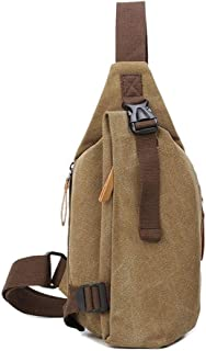 Lcxliga Men's Chest Bag Zipper Canvas Waterproof Messenger Shoulder Bag (Color: Gray) Outdoor Leisure, Portable and Comfortable (Color : Yellow)