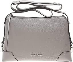 Michael Kors Crosby Leather Crossbody Messenger Purse - Pearl Grey