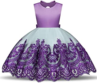 SEASHORE Girls 3-8 Years Off Shoulder Bowknot Princess Dress Satin Flower Girl Wedding Costume Piano Performance Clothing (Color : Purple, Size : 1Y)