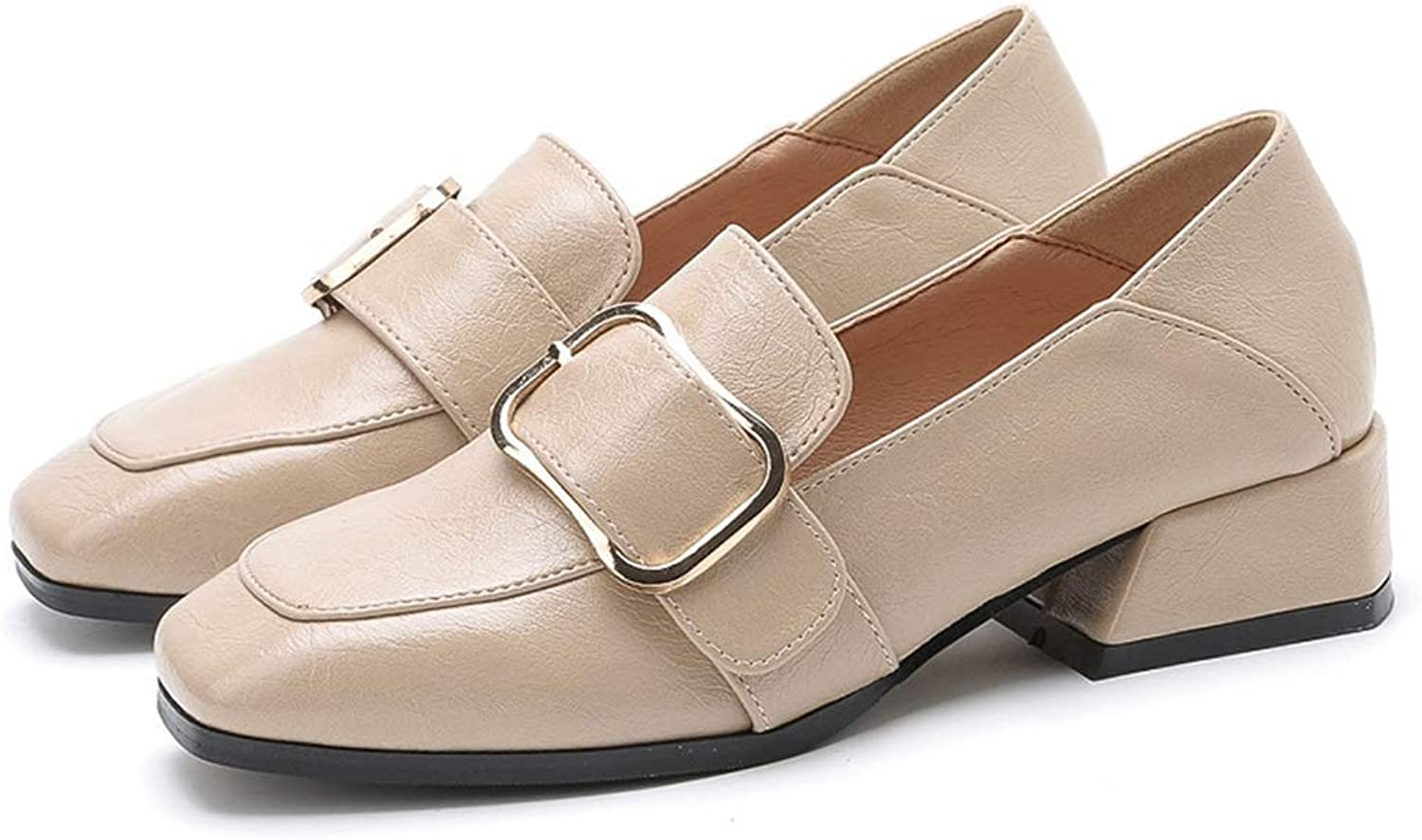 KEREE Women Casual Mid Block Heel Loafers Buckle Lightweight Comfortable Pointed Toe Slip On Oxford shoes