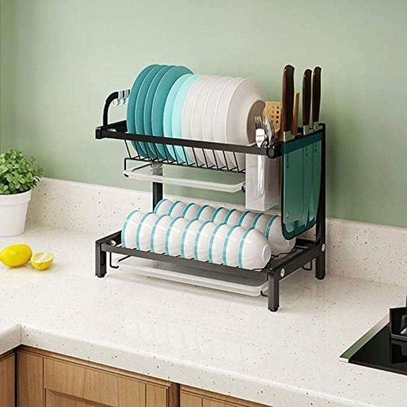 維持一緒に表現YSDHE キッチン黒でシンク食器水切りラックオーバー2ティアステンレス鋼、と食器棚 (Size : 2-Tier)
