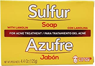 Grisi Sulfur Acne Soap Bar   Sulfur Face Soap for Acne Treatment, Helps Clear Up Pimples and Blemishes; 4.4 Ounces