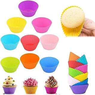Moules à Muffin en Silicone Réutilisables,18 Silicone Muffin Coupes,Moules à Cupcakes en Silicone,Moules de Cuisson en Sil...