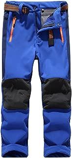 Girls/Boys Fleeced Snow Hiking Pants Water Repellent Windproof Outdoor Sports Softshell Winter Pants