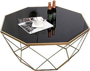 DXJNI - Tavolini da caffè in Vetro temperato Nero Nordico, Piccolo Tavolo da tè in Ferro battuto da Salotto, Quadrato Tavolini da caffè