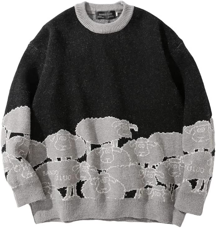 ZYING Retro Sweater Men Jumpers Knitted Harajuku Sheep Pattern Streetwear Men Knitwear Clothing Pullover Oversize Sweaters (Color : B, Size : M Code)