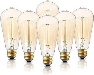 Edison Light Bulbs, 6-Pack 40w Vintage Edison Bulb, Squirrel Cage Filament Edison Bulbs, E26 Base - Amber Tinted - 110V - Dimmable - ST64 Decorative Lightbulbs