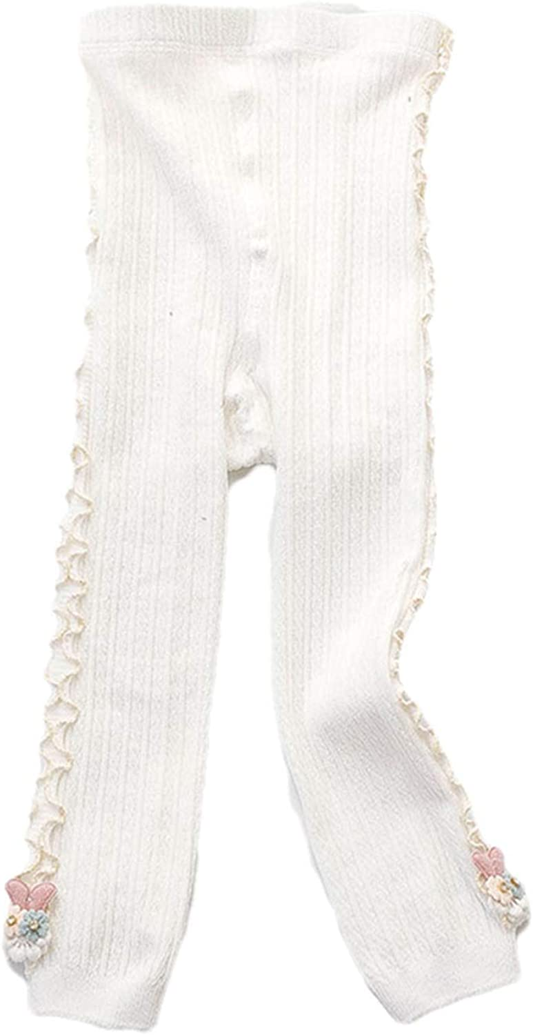 Baby Girls Ruffle Tights Knitted Ribbed Warm Leggings with Side Ruffles and Flower Decor Cute Inflant Toddler Pants