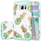 Fingic Galaxy S7 Case,Pineapple S7 Cases, Shiny Pineapple&Fresh Green Silicone Design Summer Case 2 in1 Hybrid Skin Cover for Samsung Galaxy S7(G930),Green Pineapple/Dandelion