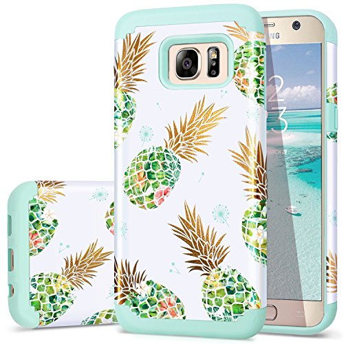 Galaxy S7 Case,Pineapple S7 Cases,Fingic Shiny Pineapple&Fresh Green Silicone Design Summer Case 2 in1 Hybrid Skin Cover for Samsung Galaxy S7(G930),Green Pineapple/Dandelion