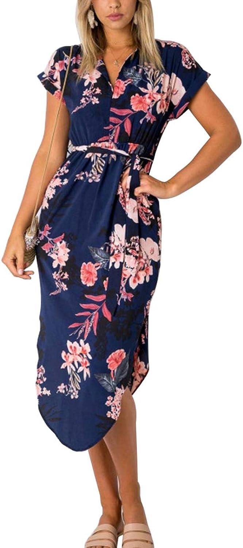CA Mode Womens's Floral Print V Neck Boho Side Slit Belted Midi Dress