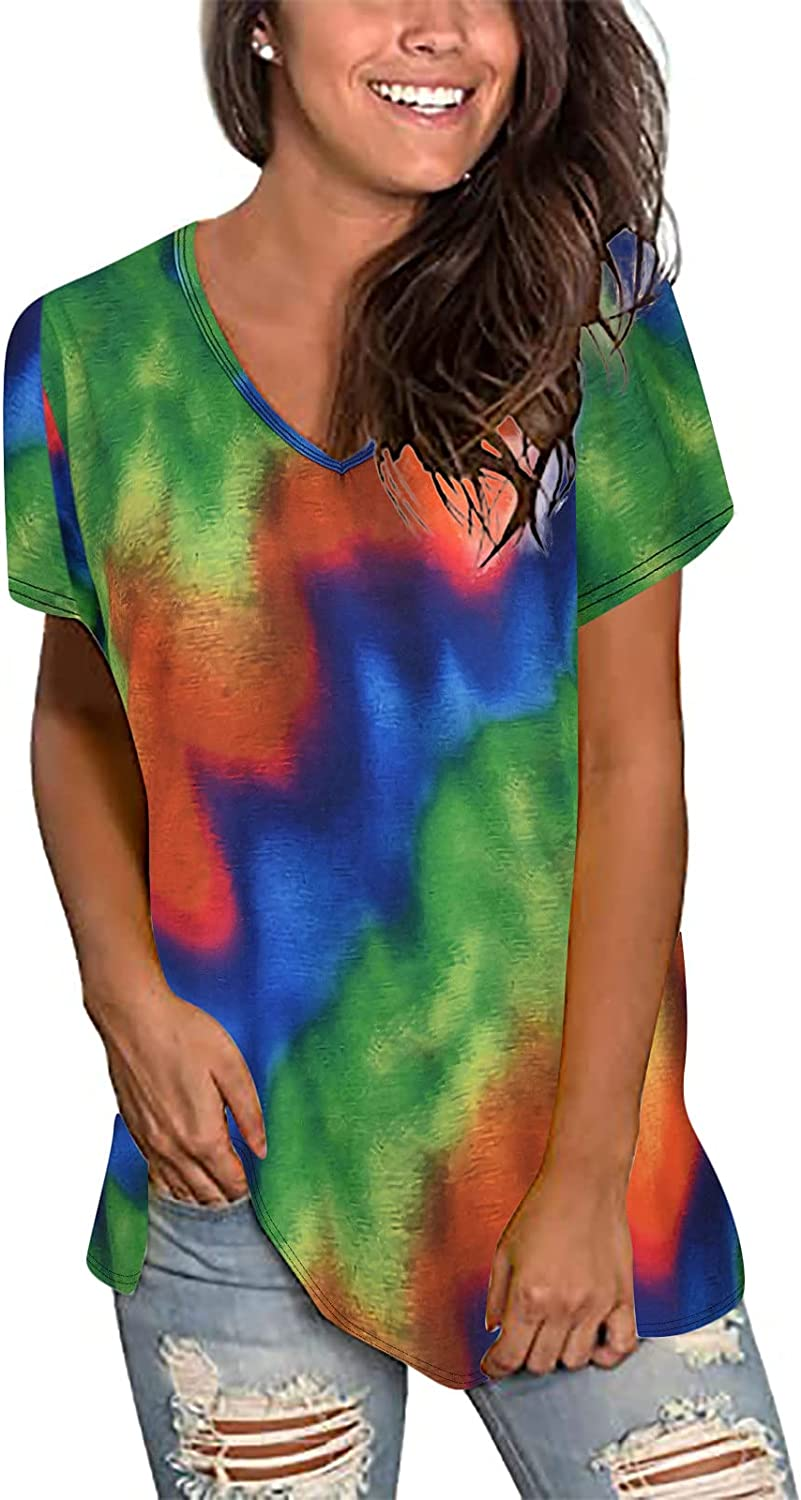 INESVER Women's Summer Casual Comfy Short Sleeve Gradient V-Neck T Shirts Tie-dye Plus Size Tops