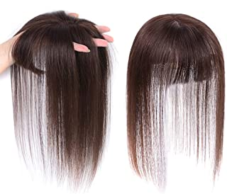 JISHENG Brazilian Straight Human Hair Crown Topper Top Hairpieces Clip in Hair Topper for Women 10inch