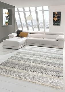 comprar comparacion Merinos Alfombra Corta de diseño de Alfombra con Rayas en Beige Größe 80x150 cm