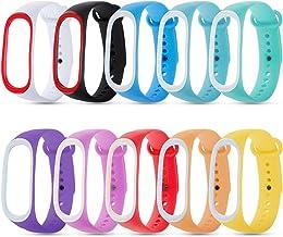 Zacro 10 Pcs Xiaomi Mi Banda 3 Correa de Recambio Colorido,Respuesto Impermeable Brazalete de Doble-Colores Versión, Correa de Reloj para Xiaomi Mi Band 3 (NO Tracker)