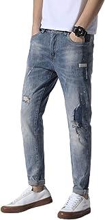 Lente en zomer herenjeans modetrend gescheurde elastische letters bedrukt patchwork stiksels slanke broek