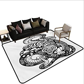 Tiger Bedroom Rugs Tattoo Style Scene of Two Animals Struggling Long Snake with Sublime Large Cat Chair mats for Carpeted Floors Black and White Area 7'6x10'