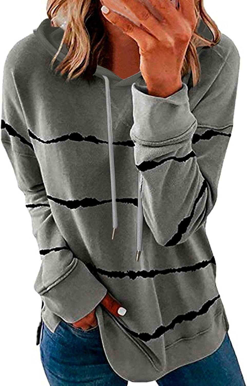 FABIURT Womens Sweatshirts and Hoodies,Women's Casual Stripe Print Drawstring Plus Pullover Loose Long Sleeve Top Shirts