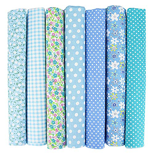 INFEI 7 paños de tela de algodón cuadrados de 50 x 50 cm, para manualidades, para manualidades, para manualidades, patchwork, costura, álbumes de recortes, manualidades (azul)