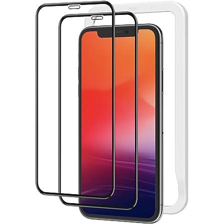 NIMASO ガラスフィルム iPhone11 Pro Max/iPhone XS Max 用 全面保護 フィルム ガイド枠付き 2枚セット NSP18F13