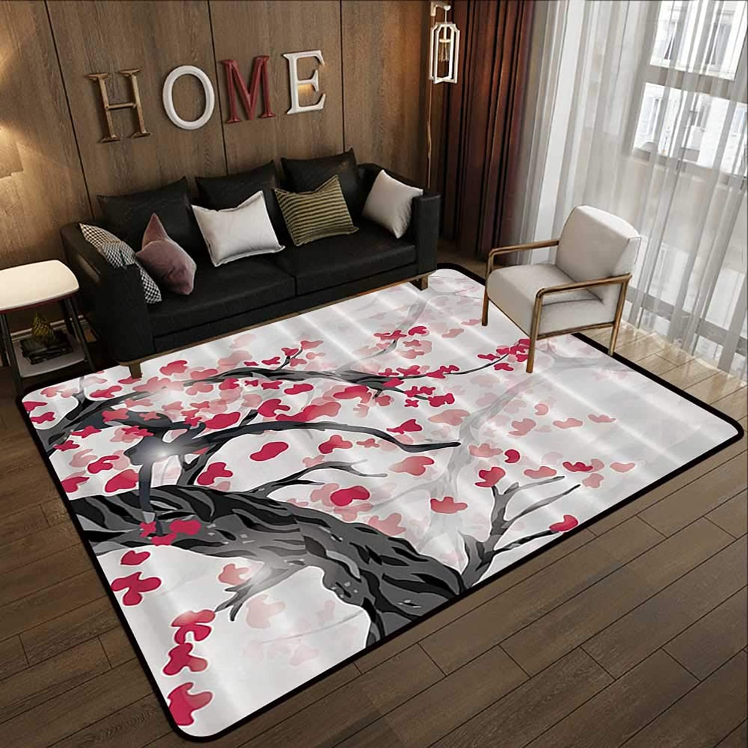 Modern Abstract Area Rug,Japanese Plum Tree and Cherry Flowers Garden 55 x 63  Anti-Slip Toilet Doormat Home Decor