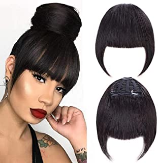 GongXiu Clip in Bangs Real Human Hair Bangs Extensions for Women Straight Flat with Temple Natural Black Bangs with 3 Clips(color:Black)