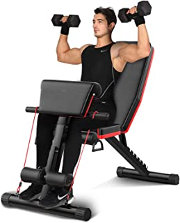 Adjustable Weight Bench, Foldable Workout Bench Sit Up Incline, Strength Training Bench for Home Gym with Pull Rope