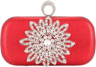 HUIfenghe Women's Front Inlaid Crystal Rhinestones Sun Flower Banquet Bag PU Leather Hard Shell Evening Dress Clutch Bag Flower Shoulder Chain Bag Size: 19 * 6 * 13cm (Color : Red)