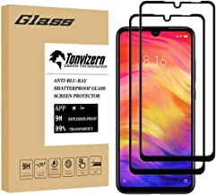 [2-Pack] Tonvizern Compatible for Xiaomi Redmi Note 7 / Note 7 Pro Tempered Glass Screen Protector [Full Coverage], 0.26mm 9H Hardness Screen Protector [Black]