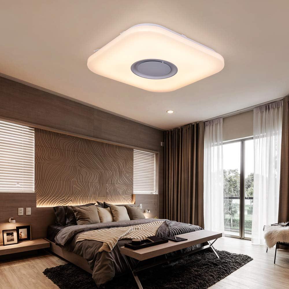 36W Sternenhimmel Deckenleuchte LED mit Fernbedienung Dimmbar Farbwechsel, Bluetooth Lautsprecher Musik Deckenlampe, für Kinderzimmer Schlafzimmer Kinder Geschenk (CE-zertifiziert) Quadratische 36w