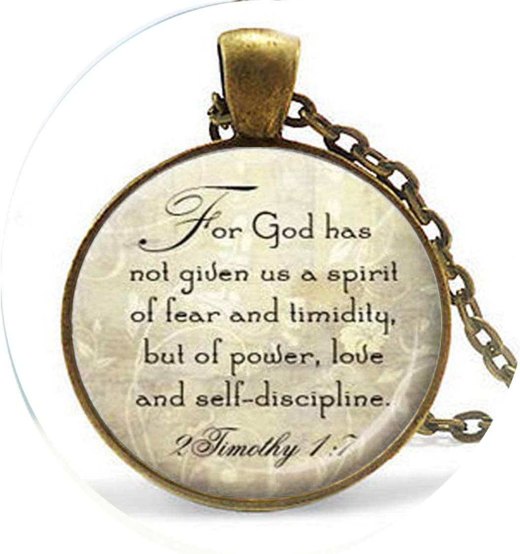 Long Silver Christian Scripture Limited time trial price Necklace - Qu Timothy 17 2 Max 82% OFF Bible