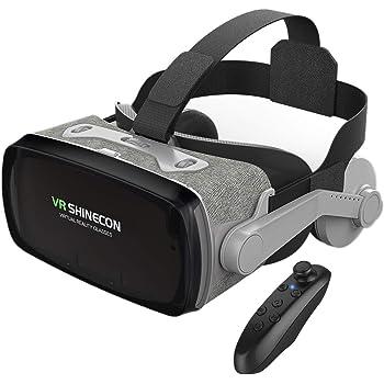 Findbetter VRゴーグル VRヘッドセット iPhone androidスマホ用 ヘッドホン付き一体型 3D VRグラス メガネ 動画 ゲーム コントローラ/リモコン付き 受話可能 4.0-6.3インチのスマホ対応 令和最新型 日本語取扱説明書付き 最新型 グレイ