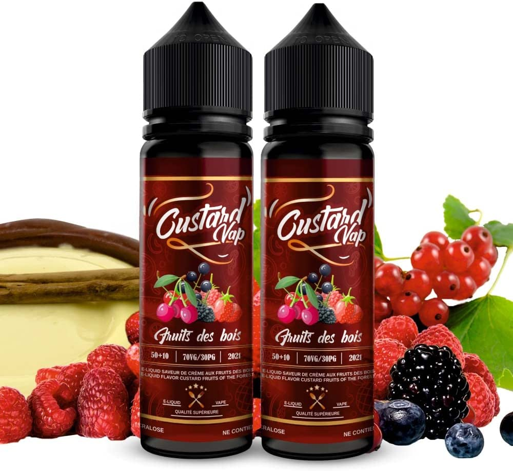 E-liquid 2 x 50ml Vanilla Custard Vap de FRUTOS ROJOS con base de GALLETA | Sin Nicotina – E-Líquido Premium para Cigarrillos Electronicos | E Liquidos para Vaper