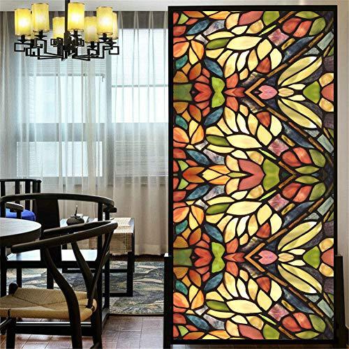 Fensterfolie, Buntglas-Aufkleber, nicht klebend, statische Fensterabdeckung, UV-Schutz, für Zuhause, Badezimmer, 120 x 200 cm