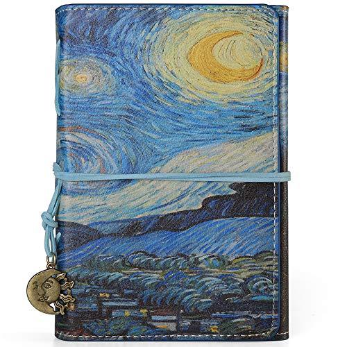 VALERY Taccuino vintage DIN A6 I rilegato I Diario a righe in pelle PU I diario di viaggio ricaricabile I 100 fogli 200 pagine a righe – Blu (Starry Night)