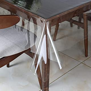 Clear Vinyl Tablecloth Protector Waterproof/Oil-Proof Plastic Rectangle Transparent Sheet Table Cover 54X84 Inch