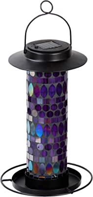 Sun-Ray 811015 Amethyst Mosaic Solar Lighted Bird Feeder Hanging Lantern - Multicolor/Violet/Purple/Blue