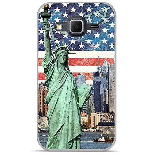 Onozo Cover TPU Gel Morbida Samsung Galaxy Core Prime Design New York 4con Cuore Verde