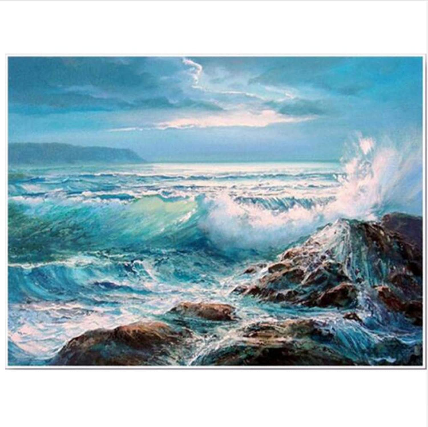 With Brushes DIY Ocean Wave Reef Home Decor Acrylic Painting Painting by Numbers for Adults-Rahmen 40X50Cm B07PDVRKSY | Um Zuerst Unter ähnlichen Produkten Rang
