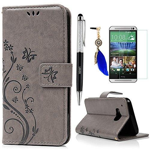 Lanveni Lederhülle Leder Tasche für HTC One (M9) (5 Zoll (12,7 cm) Hülle Gray Muster Geprägte Designs Design Hülle Cover Bookstyle Brieftasche Card Slot Handy Schutzhülle Back Cover