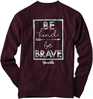 Women's Long Sleeve T-Shirt Be Kind Be Brave 2Maroon