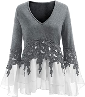 iTLOTL Fashion Womens Casual Applique Flowy Chiffon V-Neck Long Sleeve Blouse Tops