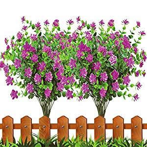 JEMONG 8Pcs Artificial Flowers Fake Outdoor UV Resistant Plants Faux Plastic Greenery Shrubs Bushes Indoor Outside Hanging Planter Home Garden Window Box Office Wedding Decor (Fushia)