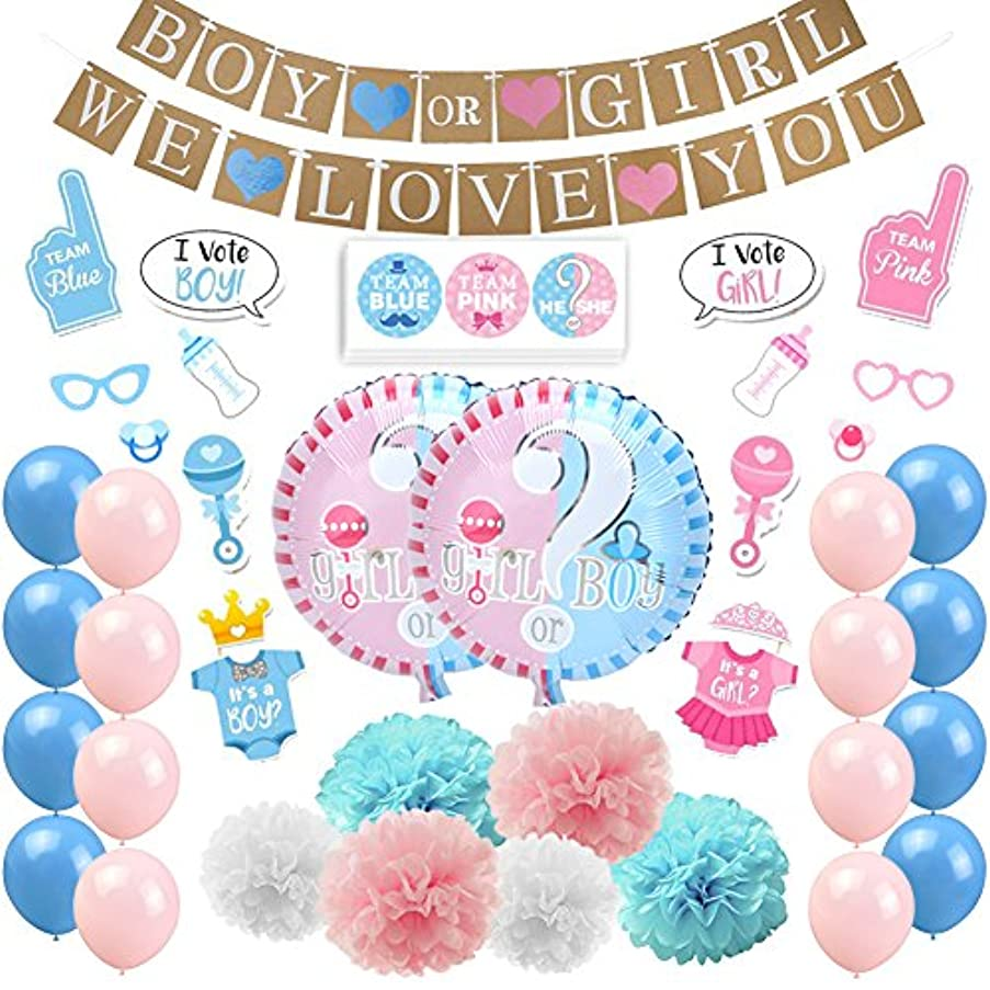 KREATWOW Gender Reveal Party Supplies Boy or Girl Gender Reveal Decorations Tissue Paper Pom Poms Boy or Girl Banner Photo Booth Props for Baby Shower Party Decorations