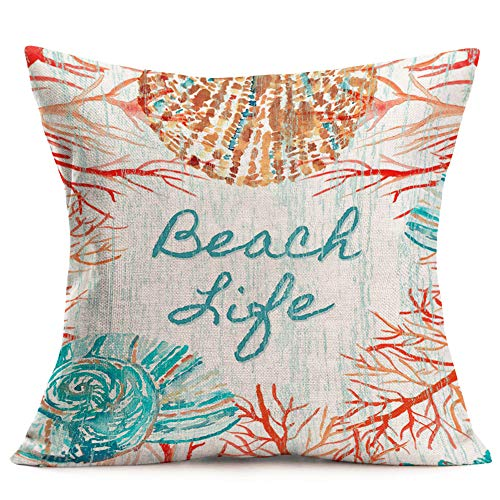 Royalours Throw Pillow Cover Vintage Ocean Theme Conch and Red Coral Decorative Pillow Case Home Decor Square Cushion Cover 18 x 18 Inch Beach Life Pillowcase (Beach Life)